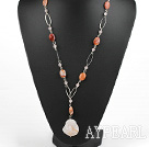 Y shape crazy agate necklace with metal loops