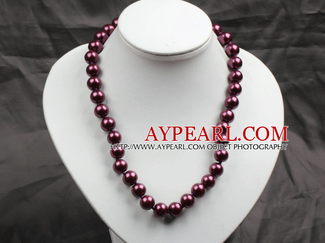 12mm Purple Red Round Glass Pearl Beads Choker Necklace Jewelry