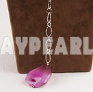 Fashion Long Chain Loop Style Pink Crystallized Agate Pendant Necklace