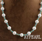 Wholesale new style white stone and turquoise beaded necklace