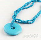 Wholesale multi strand blue turquoise beaded necklace