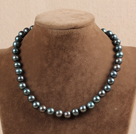 Hot Sale Women Gift A Grade 10-11mm Natural Black Pearl Necklace With Heart Clasp
