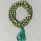 New Arrival Natural Green Potato Pearl Necklace With Green Tassel (Also can be Bracelet)