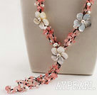 white pearl cherry quartze Y shape necklace with shell flower23.6