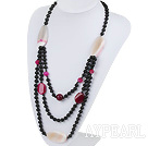 Wholesale new style multi strand pink and black agate neckalce
