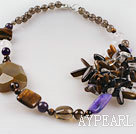 Fabulous new style tiger eye smoky quartze and crystal necklace