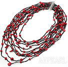 multi strand red color coal black glass beads beaded necklace