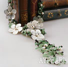 bridal jewelry fashion white pearl aventurine necklace with shell flower