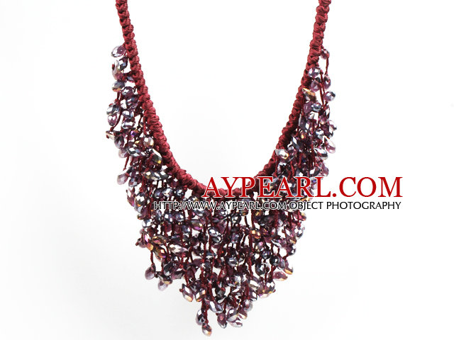 Sparkly Bib Shape Purple Red Series Water Drop Shape Crystal Statement Party Necklace