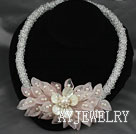 Wholesale Clear Crystal and White Freshwater Pearl and White Lip Shell and Rose Quartz Flower Party Necklace
