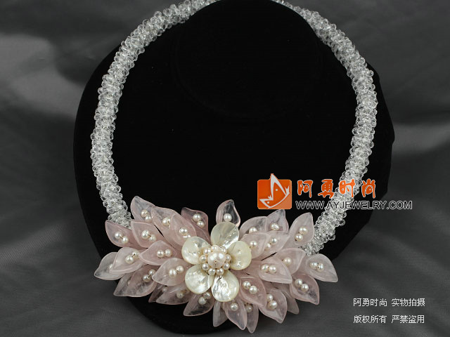 Clear Crystal and White Freshwater Pearl and White Lip Shell and Rose Quartz Flower Party Necklace