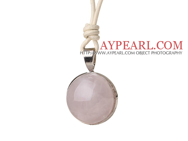 Simple Fashion Style Rose Quartz Pendant Necklace With Light Color Leather