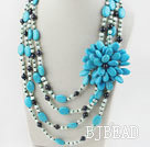 Wholesale Big Style Multi Strand Pearl and Blue Turquoise Flower Necklace