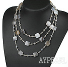 Wholesale multi strand Brazil agate and crystal neckalce