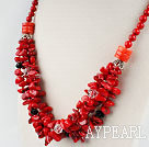 clear crystal coral and bloodstone beaded necklace
