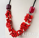 red coral white pearl and agate beaded necklace