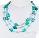 Wholesale long style blue spider and amazon stone beaded necklace