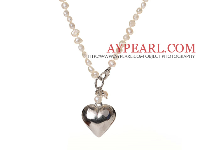 Trendy Elegant Natural White Potato Shape Pearl Heart Shape Pendant Necklace