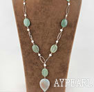 metal jewelry white pearl and serpentine jade  necklace with extendable chain