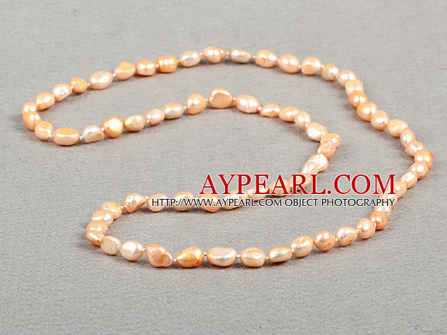 Enkelt Fashion Long stil Natural Pink Baroque Pearl Necklace