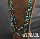 Wholesale Long Style Green Series Freshwater Pearl and Turquoise Necklace ( Can also be bracelet )