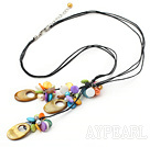 Multi Color Freshwater Pearl And Disc Hollow Shell Threaded Pendant Necklace