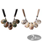 2 pcs Fantastic Drop Shape Crazy Agate and Peacock Stone Leather Necklace with Extendable Chain
