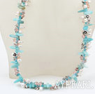 Wholesale bridal jewelry white pearl crystal and amazon stone necklace