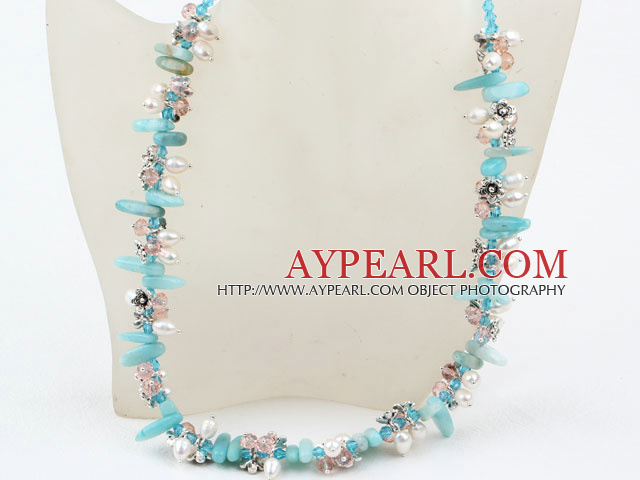 bridal jewelry white pearl crystal and amazon stone necklace