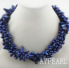 Wholesale Multi Strands Dark Blue Freshwater Pearl and Teeth Shape Dark Blue Pearl Twisted Necklace