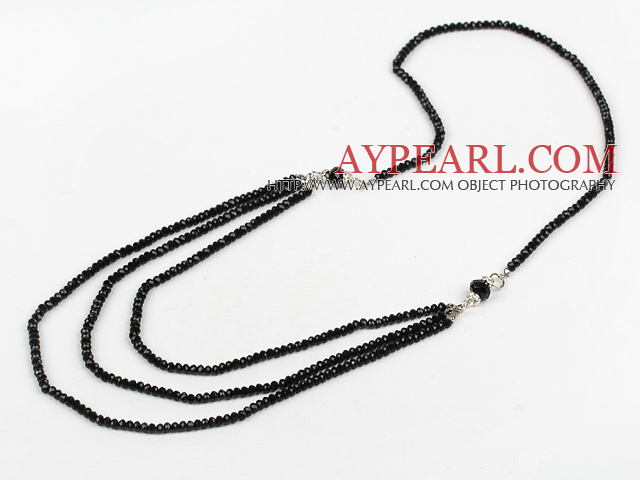 Long Style Layer Black Czech Crystal Beaded Strands Necklace