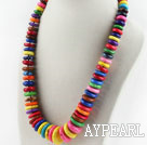 Assorted Multi Color Dyed Turquoise Graduated Necklace with Moonlight Clasp