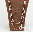 Wholesale long style multi strand white and red crystal necklace