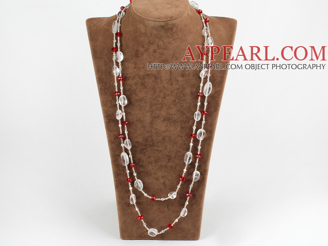 long style multi strand white and red crystal necklace