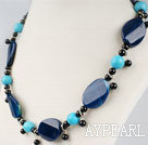 Wholesale turquoise and agae beaded necklace with moonlight clasp
