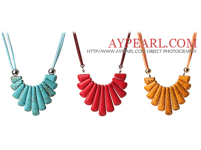 3 pcs Fantastic Fan Shape Multi Color Turquoise Leather Necklace with Lobster Clasp