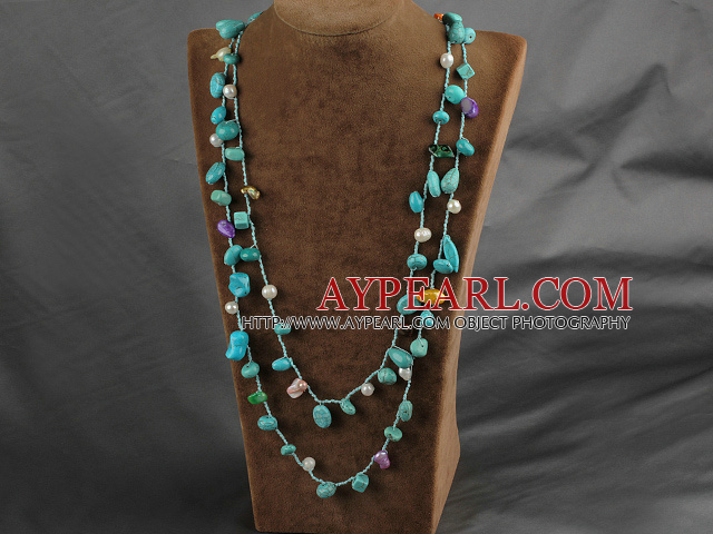 Long Style Green Series Freshwater Pearl and Turquoise Necklace ( Can also be bracelet )