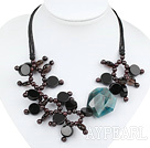 gorgeous garnet smoky quartze agate necklace