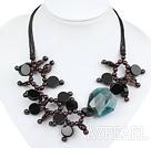Wholesale gorgeous garnet smoky quartze agate necklace