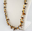 Wholesale Fashion Multi Czech Crystal And Tiger Eye Teeth Long Strand Necklace