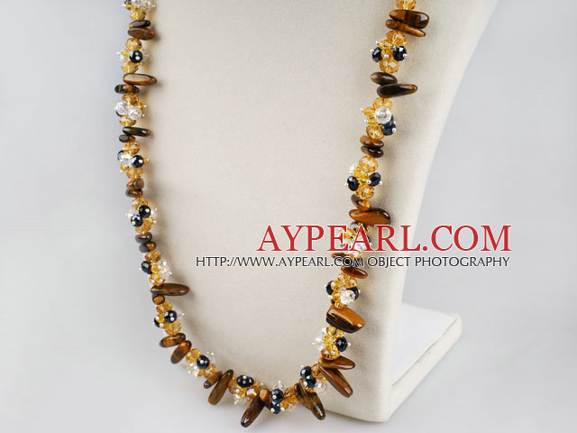 Fashion Multi Czech Crystal And Tiger Eye Teeth Long Strand Necklace
