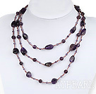 multi strand amethyst and glass beads necklace