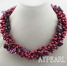 Multi Strands Dyed Purple Red Freshwater Pearl and Teeth Shape Purple Pearl Twisted Necklace