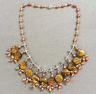 Popular New Design Brown Series Natural Pearl Flat Round Tiger Eye Stone Bib Necklace With Small Alloyed Chinese Knot