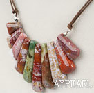Wholesale 8*35mm ocean agate beaded necklace with extendable chain