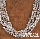 multi strand clear crystal chips beaded necklace with jade clasp