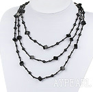 fashion long style multi strand black agate and crystal necklace