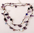 Long Style Amethyst and Opal Stone and Clear Crystal and Black Agate Hand Knotted Necklace