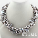 Multi Strands Gray Freshwater Pearl and Teeth Shape Gray Pearl Twisted Necklace