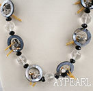 Wholesale black agate crystal and shel necklace with extendable chain